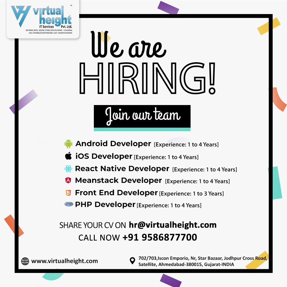 We Re Hiring Join Our Team Web App Developer Ahmedabad Virtual Height App Development Companies Mobile App Development Companies App Development