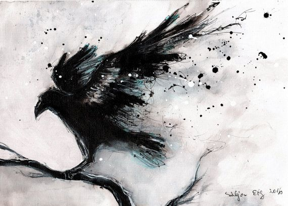 8x12in ink painting on canvas roll - Abstract raven on a branch