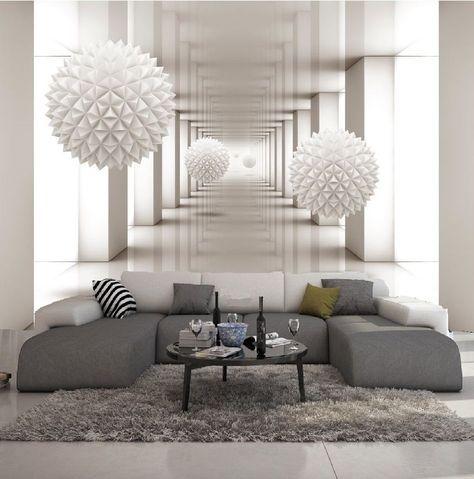 Papier peint 3d trompe l oeil photo murale relief 3d blanc contemporain salons 3d wall and wall décor