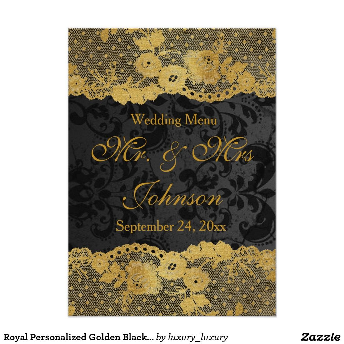 Royal Personalized Golden Black Lace Menu 11 Cm X 16 Cm Invitation Card