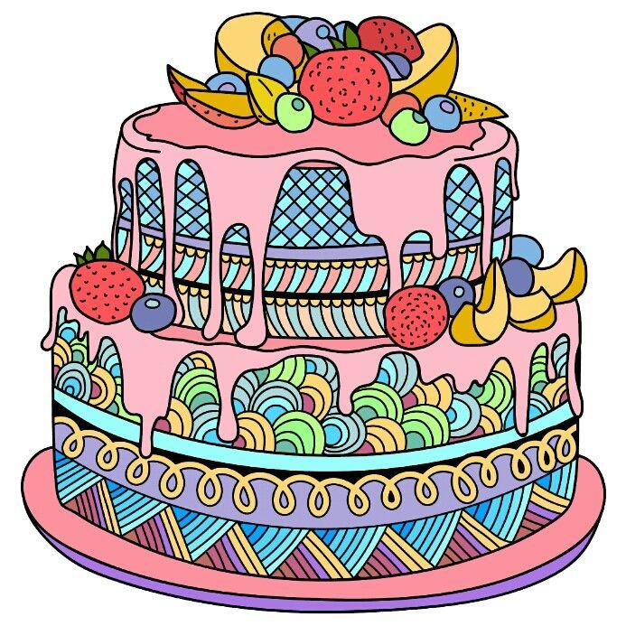 Нарисованная картинка праздничный торт