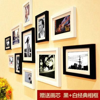 11 Pieces/Set Cheap Photo Frames Set Wood Picture Frame Wall ...