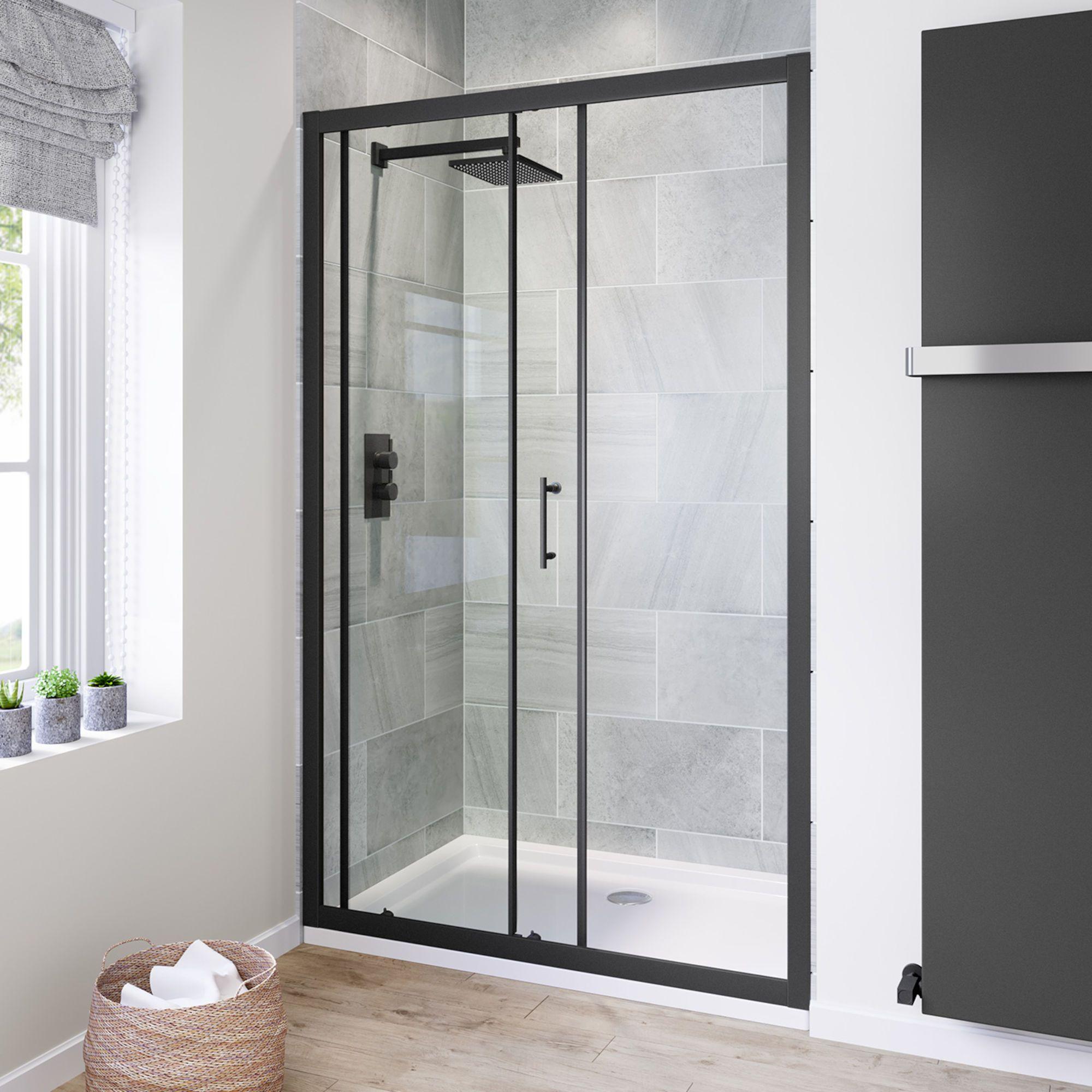 1200mm 6mm Black Frame Sliding Shower Door Soak Com Shower Doors Black Shower Doors Framed Shower Enclosures