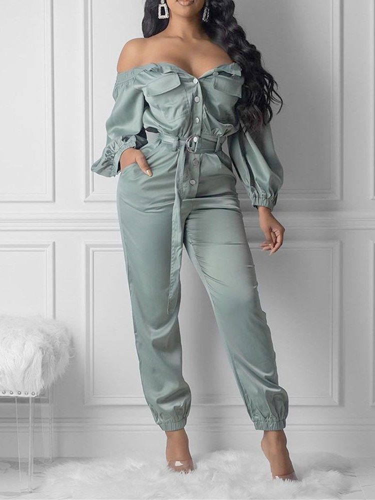 Off Shoulder Plain Pocket Slim Womens Jumpsuit #jumpsuitromper