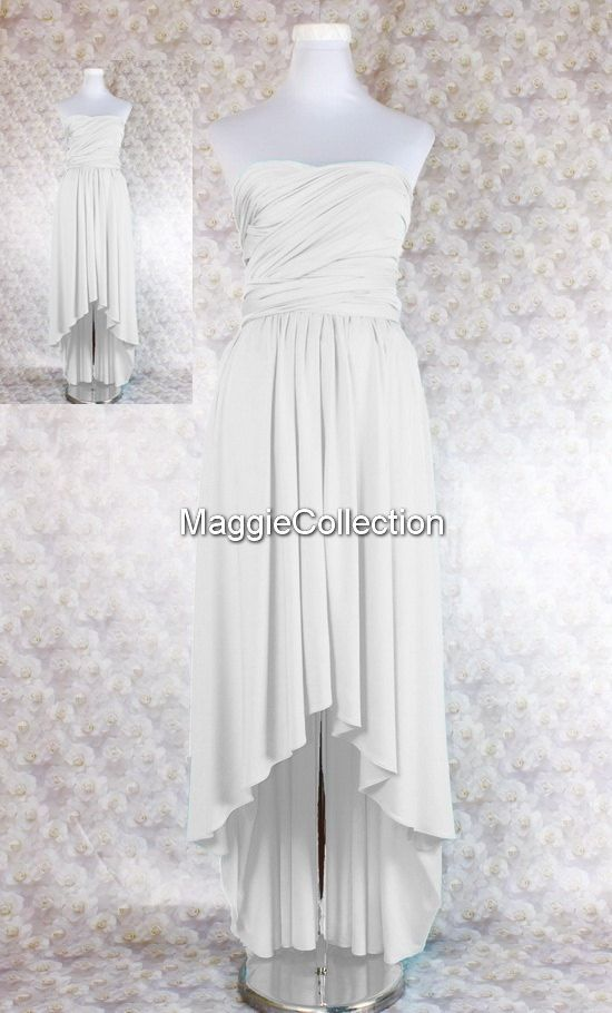 Hey, I found this really awesome Etsy listing at https://www.etsy.com/listing/226249369/white-bridesmaid-dress-long-hi-low