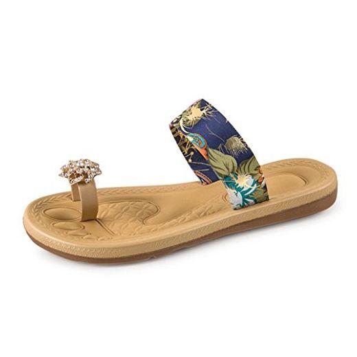 Webla Bohemia Style Damen Sandalen Mode flache Ferse Flip Flops Strand  Hausschuhe (36, blau
