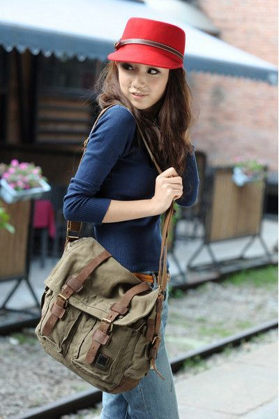 Green Canvas Military Messenger Bag with Adjustable Leather Straps ...