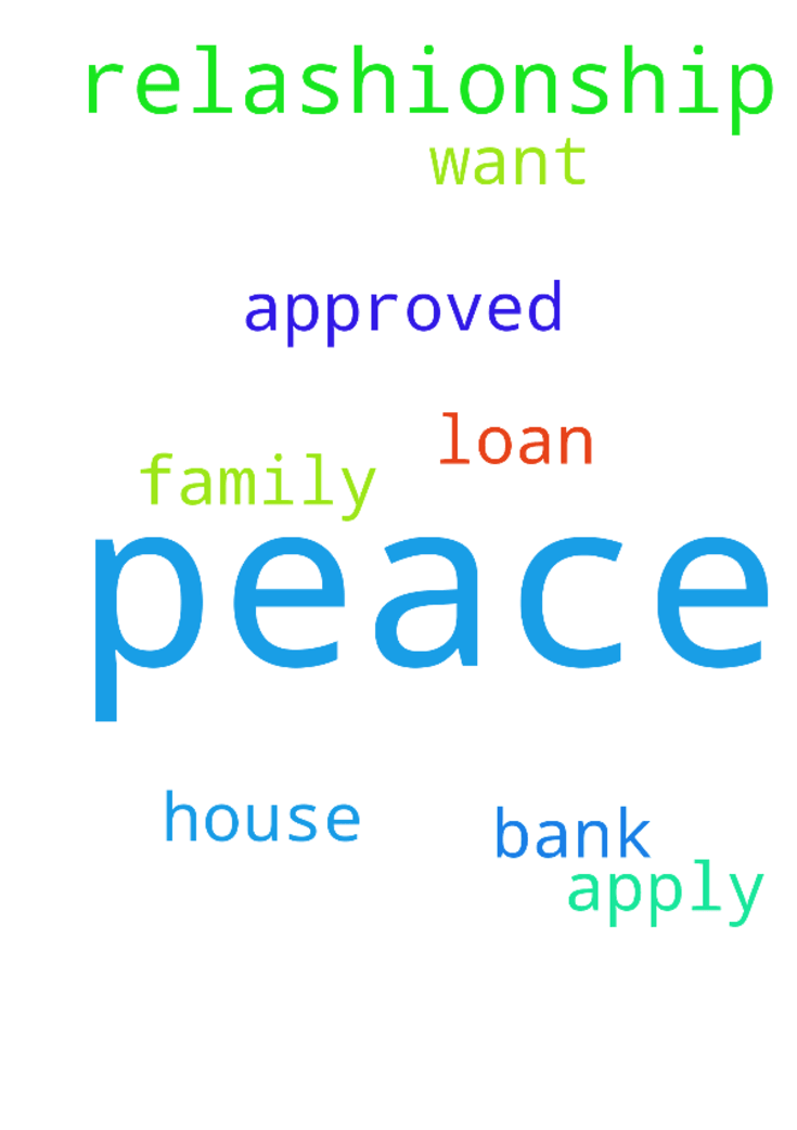I pray for peace in my relashionship and - I pray for peace in my relashionship and family, pray for the house that i want to apply and get the loan at the bank let this be approved in Jesus name. Amen Posted at: https://prayerrequest.com/t/jLb #pray #prayer #request #prayerrequest
