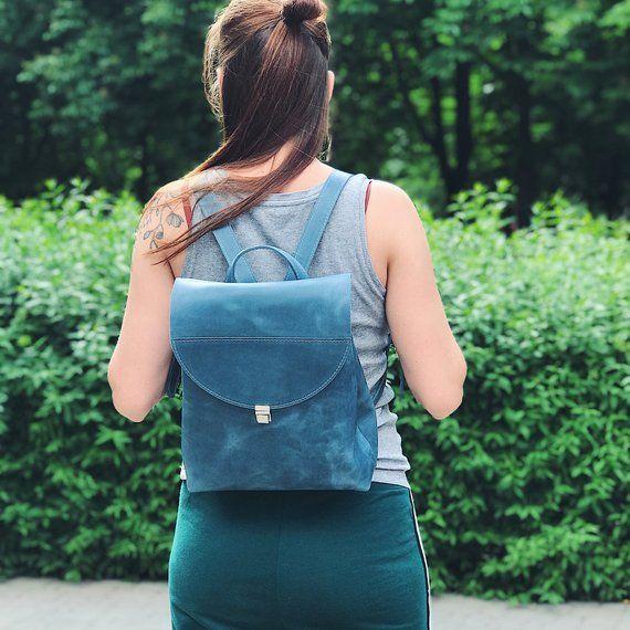 b0bca7fcef Women small leather backpack mini backpack Blue everyday leather backpack minimalist  backpack Leathe