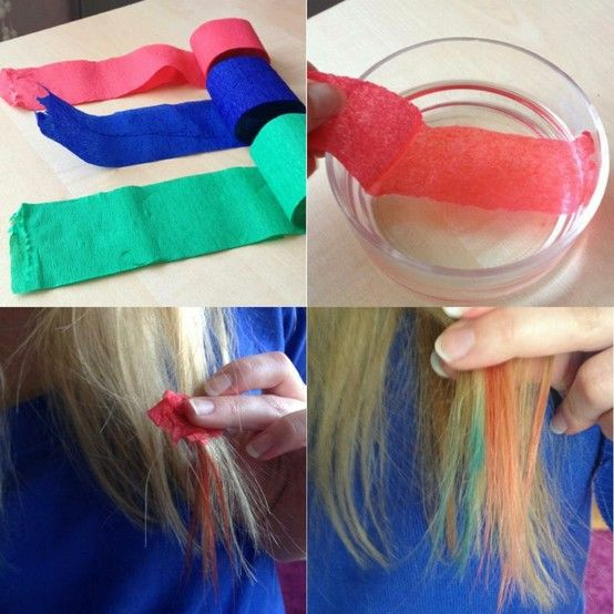It S Crepe Paper Get It Wet Separate A Small Section Of Hair Wrap The Wet Crepe Paper Around It And Diy Hair Dye Temporary Hair Dye Diy Temporary Hair Dye