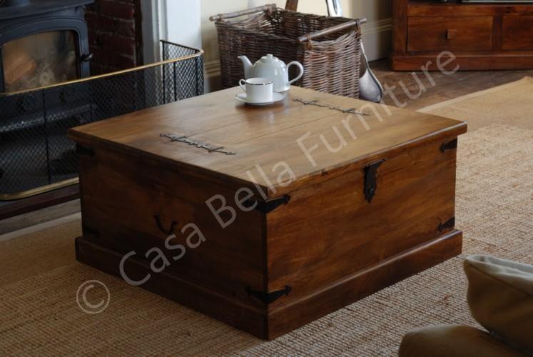 Jali Mango Square Trunk Chest Blanket Box Solid Wood Indian Furniture Like Oak Trunk Coffee
