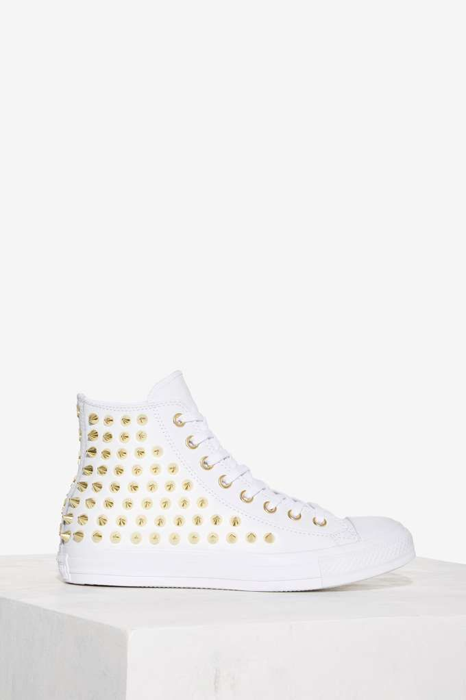e7a7760b8ec2b5 Converse All Star Studded Leather Sneaker - White