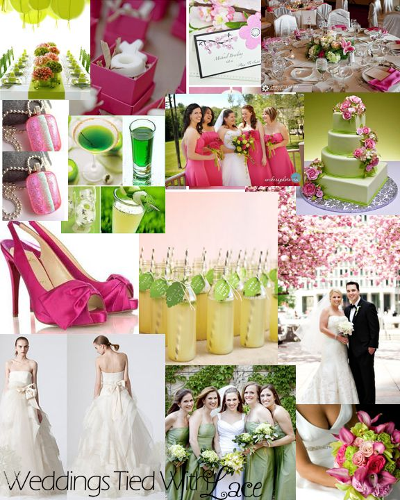 Pink And Green Wedding. Love The Green Shot Of Peppermint