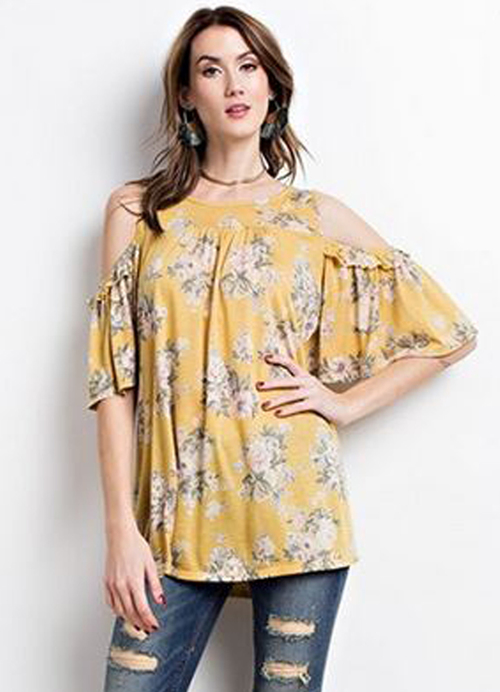 344b482cdaa3f Cold Shoulder Floral Printed Top in Mango by Easel