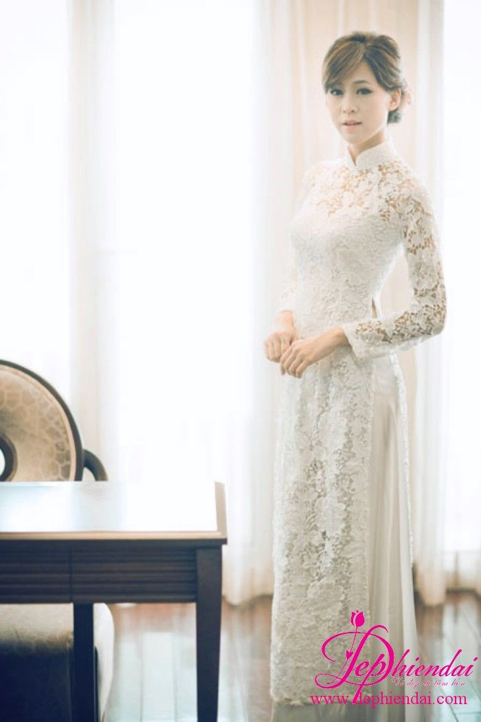 Ao Dai In White Lace For The Bride Vietnamese Wedding Dress