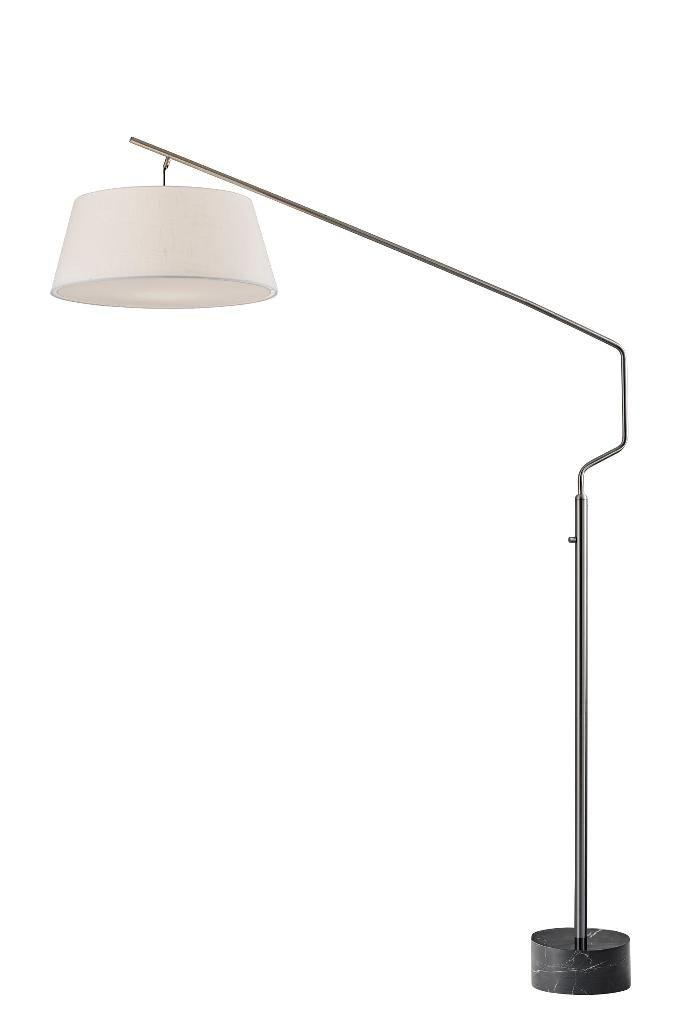 Adesso Stanton Arc Lamp 81 Quot Hx56 5 Quot Dx211 5 Quot Q 1x150w White Textured Fabric W White Diffuser