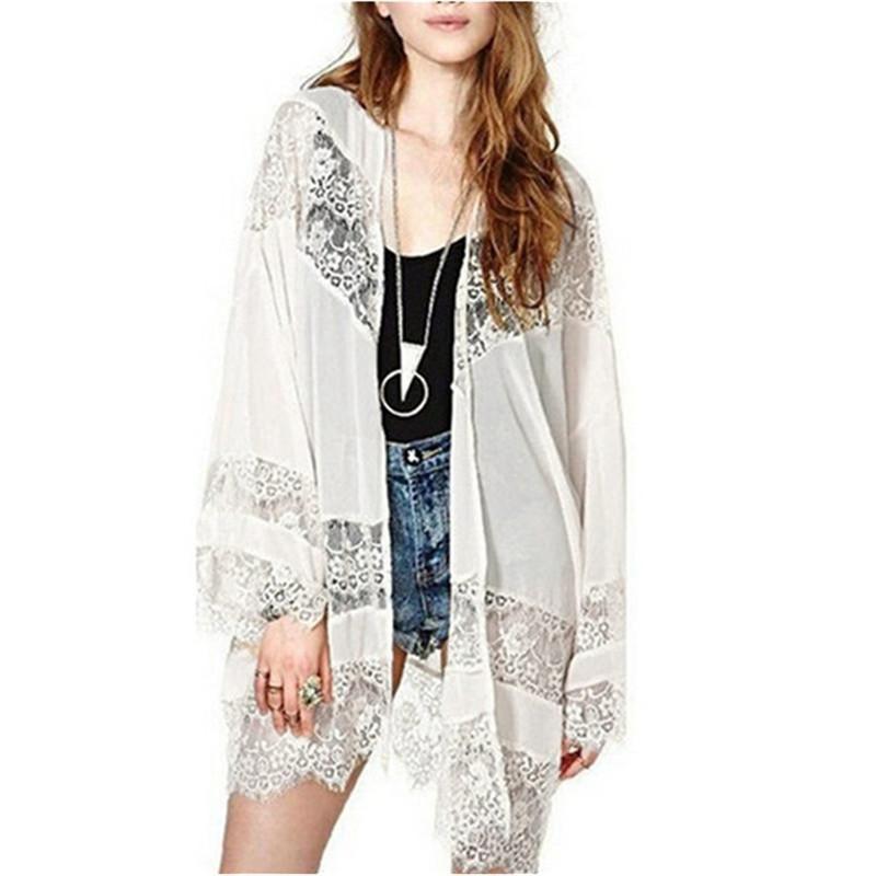 Vintage Women Floral Lace Kimono Cardigan Chiffon Blouse Casual Long Sleeve Tops