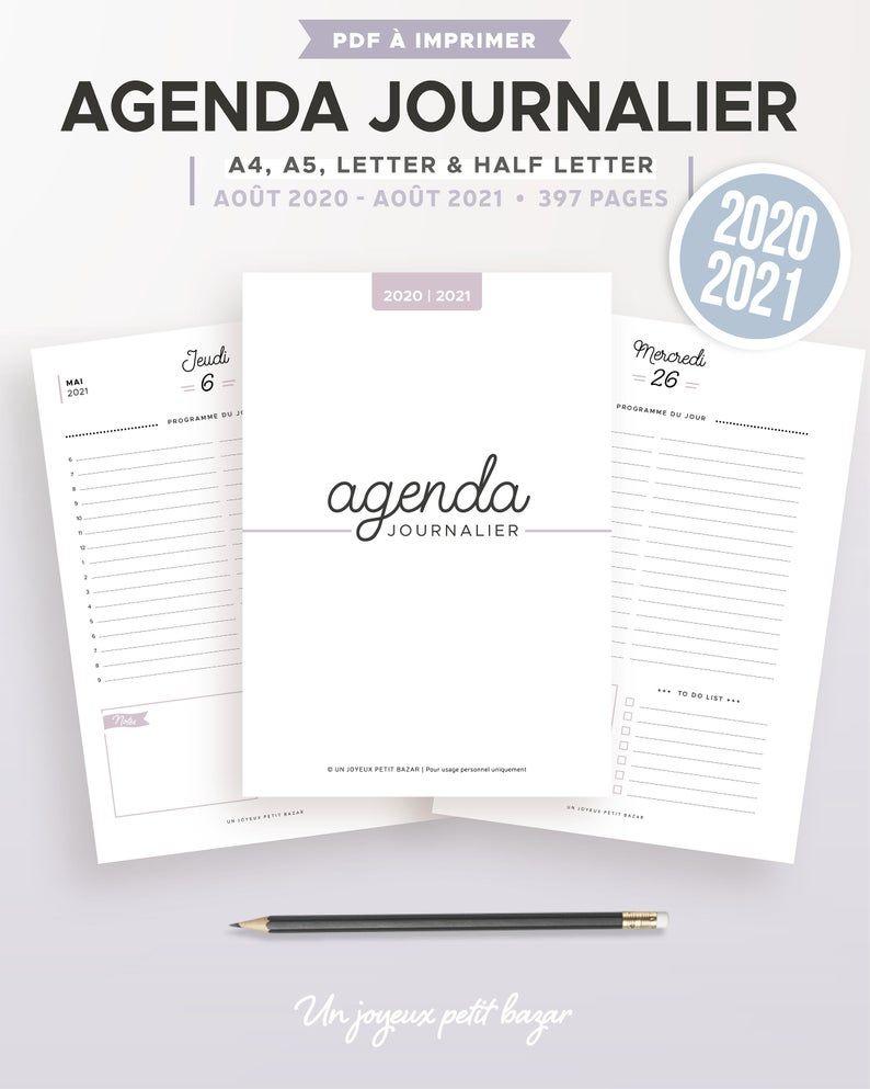 Agenda journalier 2020/2021 à imprimer, recharge en