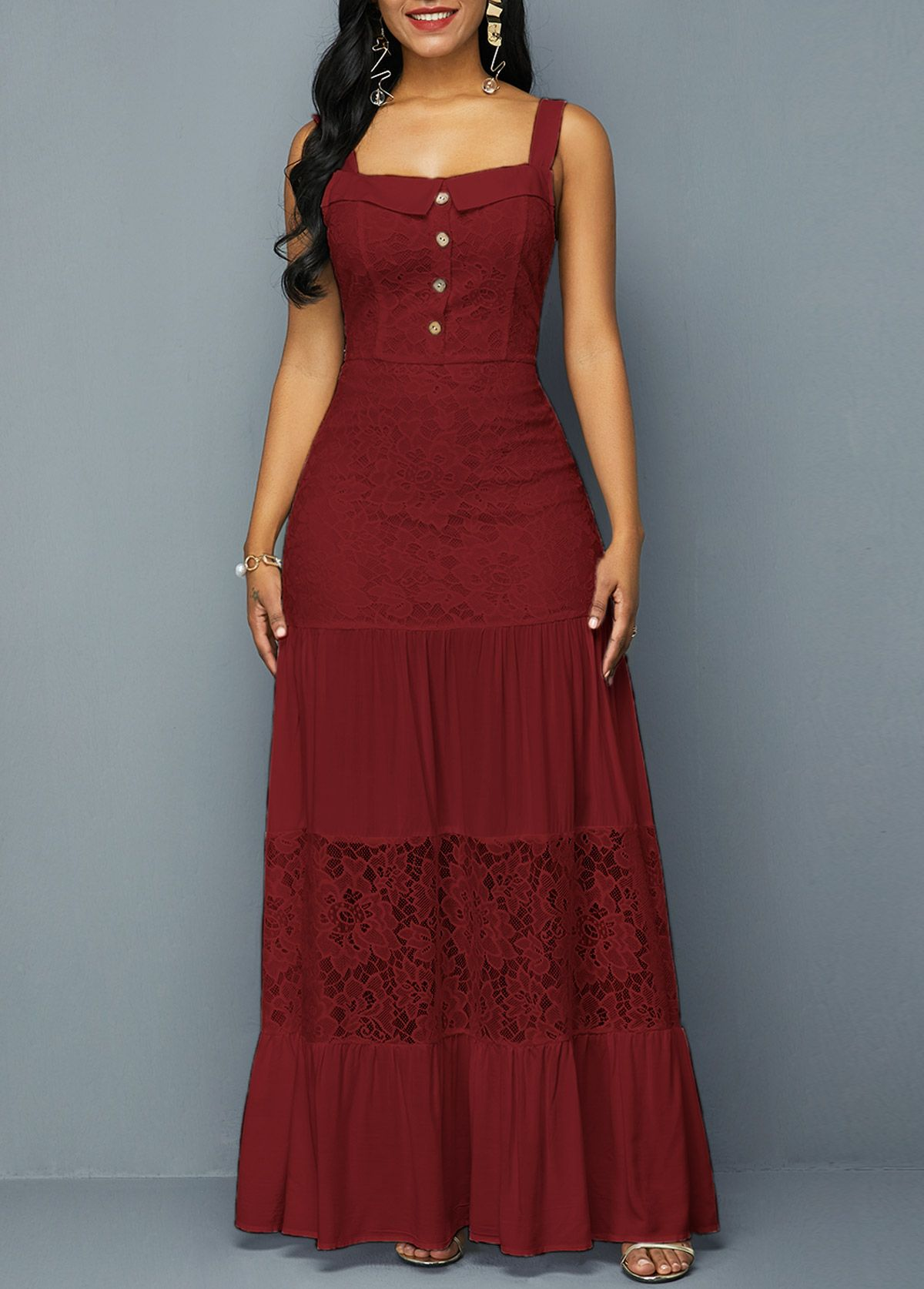 Button Detail Open Back Wine Red Lace Dress Rosewe Com Usd 34 03 Red Lace Dress Lace Dress Lace Blue Dress