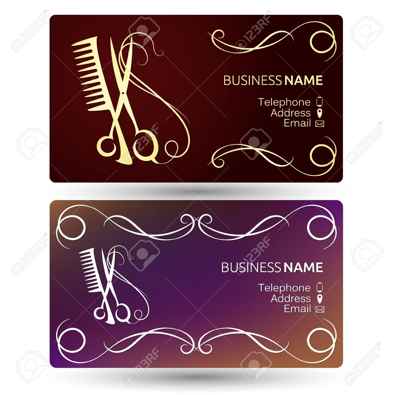 Beauty Salon And Hairdresser Business Card Template Vector Pertaining To Hairdresse Salon Business Cards Beauty Salon Business Cards Hairdresser Business Cards