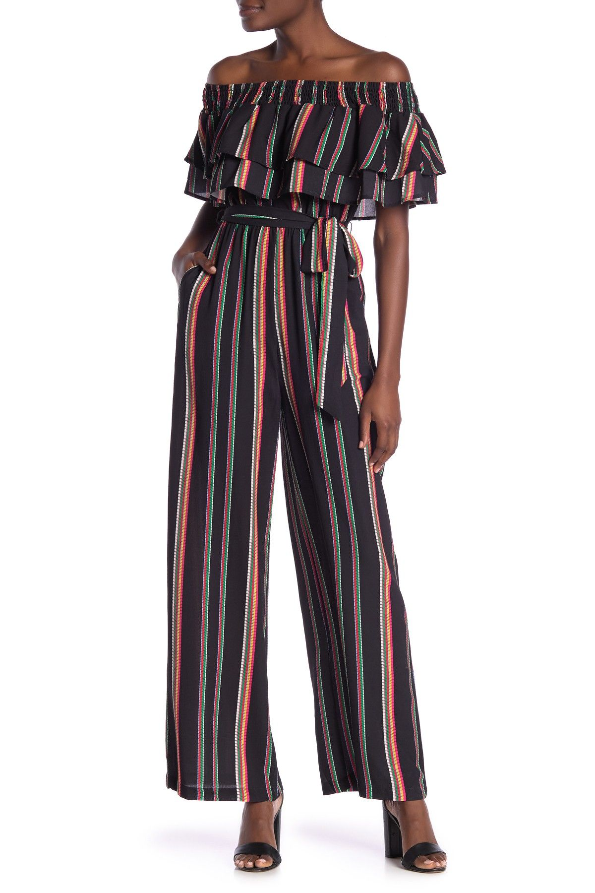 b8e1016e11faf Off-the-Shoulder Multicolor Stripe Tie Waist Jumpsuit by Flying Tomato on   nordstrom rack