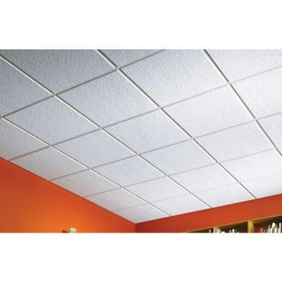 Usg Ceilings 2 Ft X 2 Ft Luna Climaplus Lay In Ceiling Panel 4 Pack R76775 The Home Depot Ceiling Tiles Drop Ceiling Tiles Ceiling Tiles Basement
