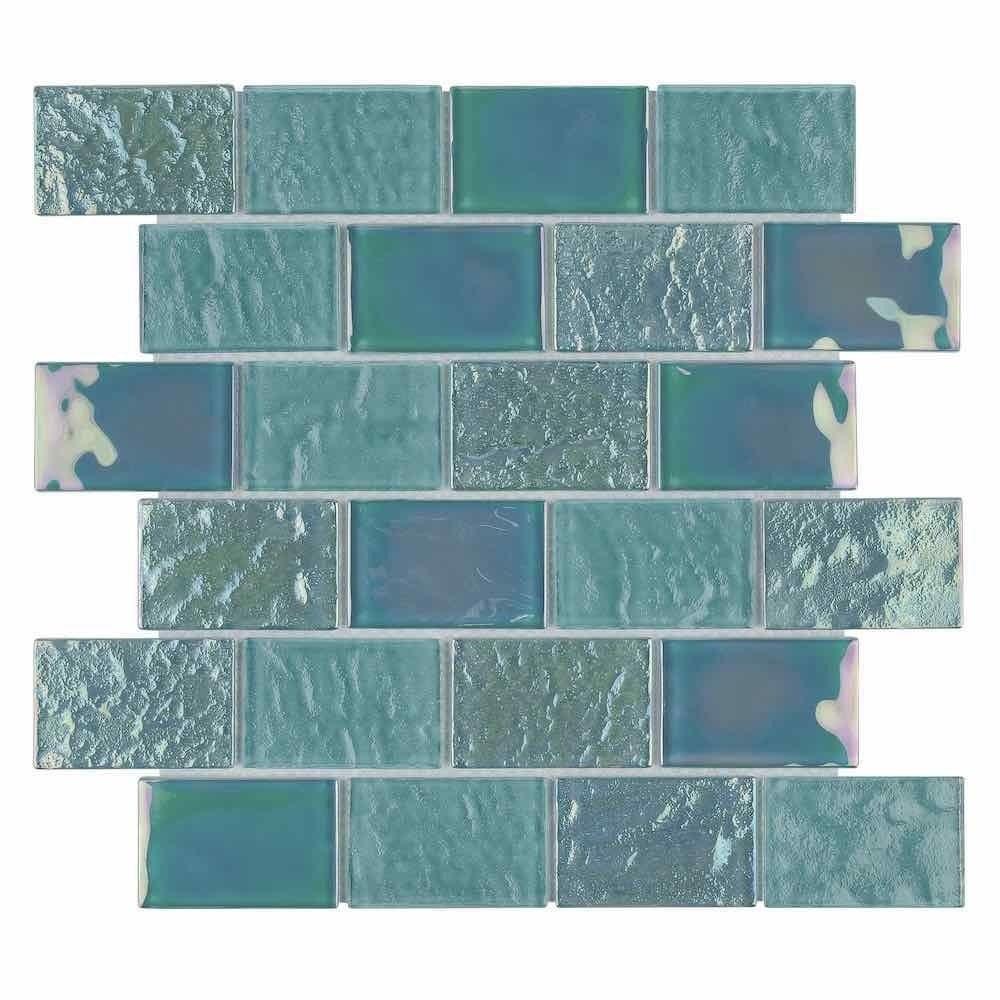 - Iridescent Glass Tile Summer Sea Foam 2 X 3 Iridescent Glass