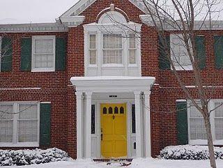 brick house black shutters white trim yellow door. sounds like a summer & brick house black shutters white trim yellow door. sounds like a ...