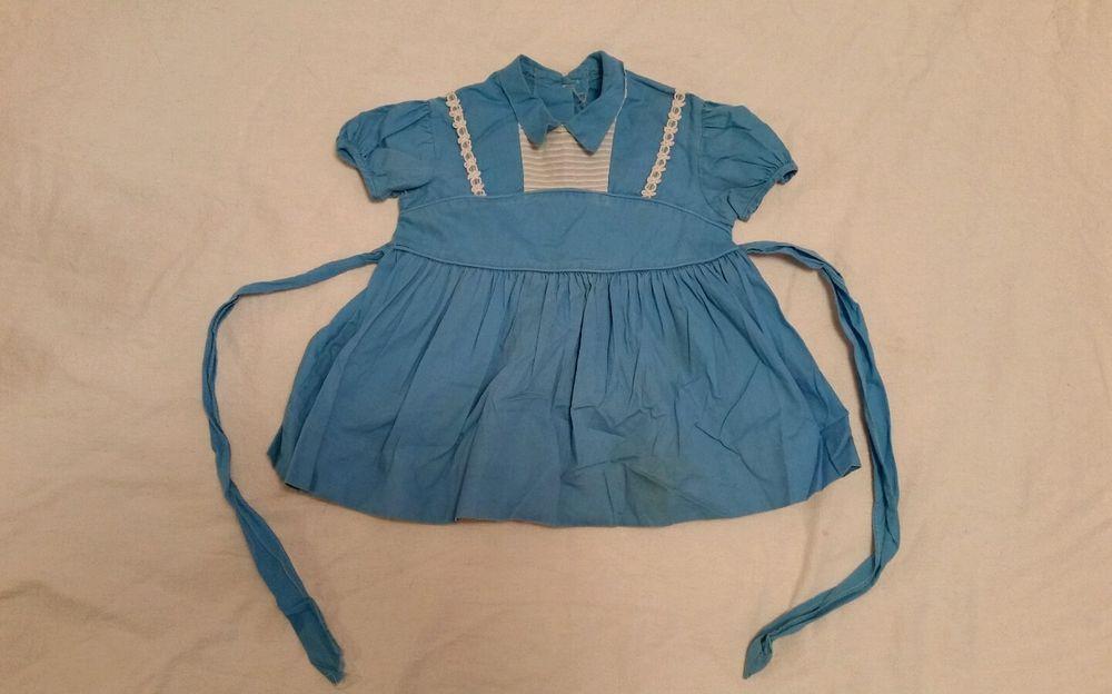 "Vintage Medium blue w/ ribbon cotton girl toddler doll dress, 12"" waist"