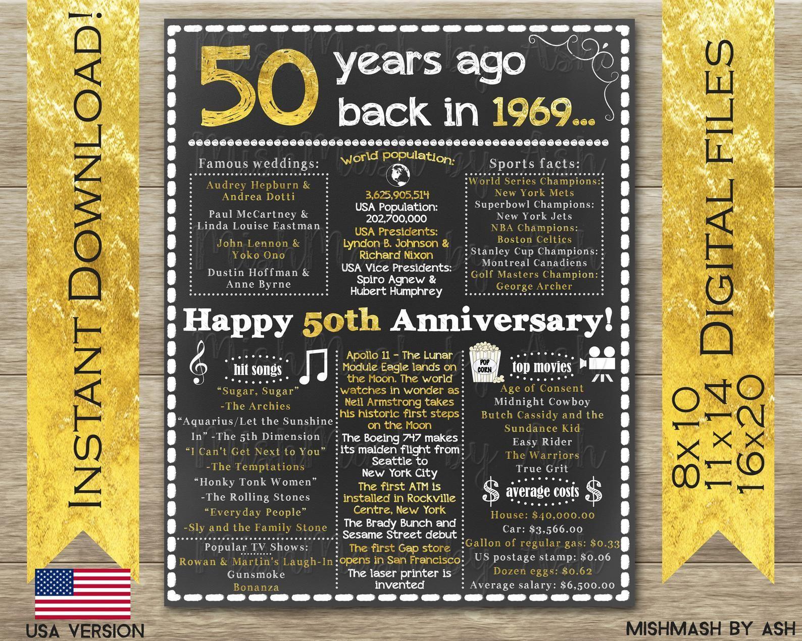 50th Anniversary Gift, 50th Anniversary Sign, 1969
