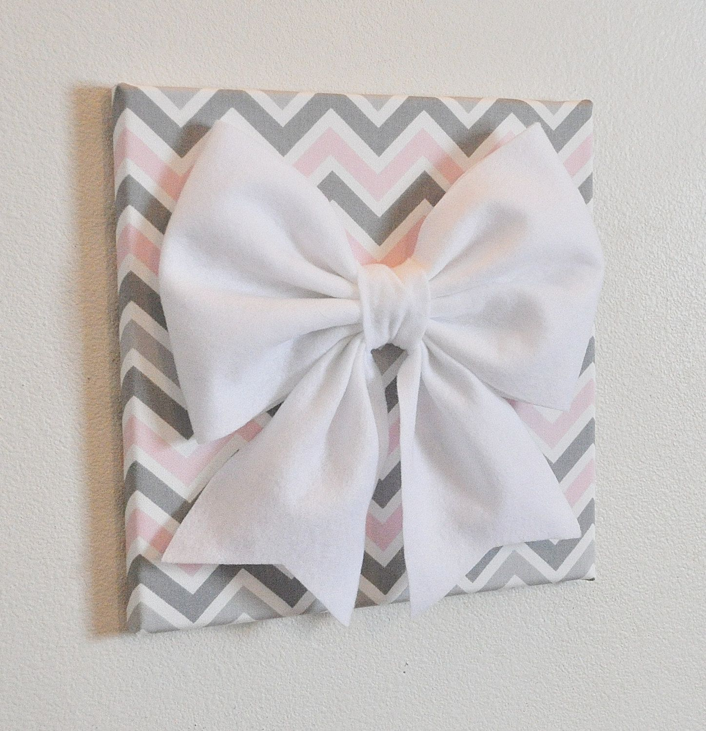 Wall decor large white bow on pink and gray chevron x