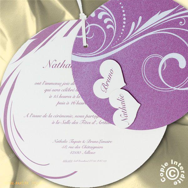Souvent Faire part mariage rond | invitation faire part mariage | Pinterest AP83