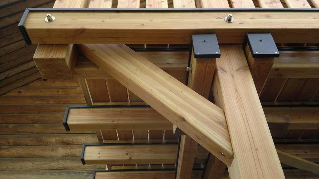Massivholz Holzbalkon Pfosten Detailansicht Konstruktion L 228 Rche Douglasie Am Blockhaus