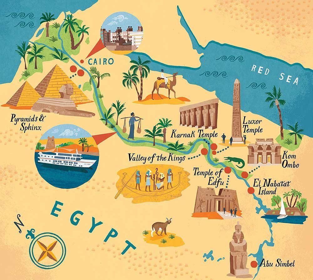 This is the latest map I created for Boundless Magazine which champions  Nile cruises in Egypt. I've highlighted different point…   Egypt map,  Illustrated map, Egypt