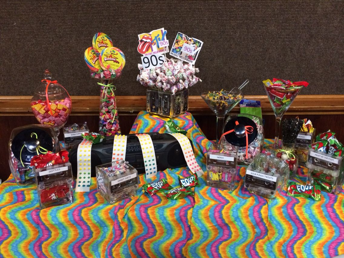 90 S Themed Sweet Table 90s Theme Party 40th Birthday Parties 90s Party