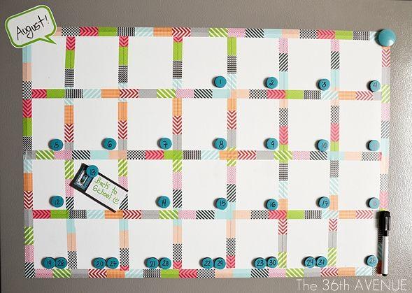 Make a White Board Magnetic Calendar Magnetic white board, Washi