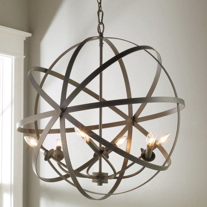 Zinc Orbit Globe Chandelier - 6 Light