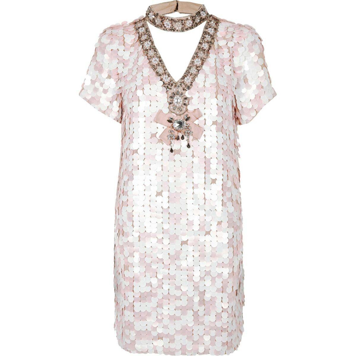 f2d928f770ca Pink sequin choker neck swing dress