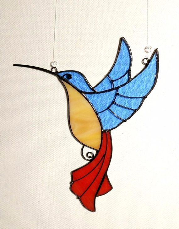 Genuine Stained Gl Art Suncatcher Bird Hummingbird Handmade