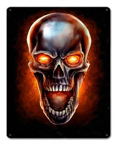 Glowing Skull Metal Sign 12 X 15 Inches