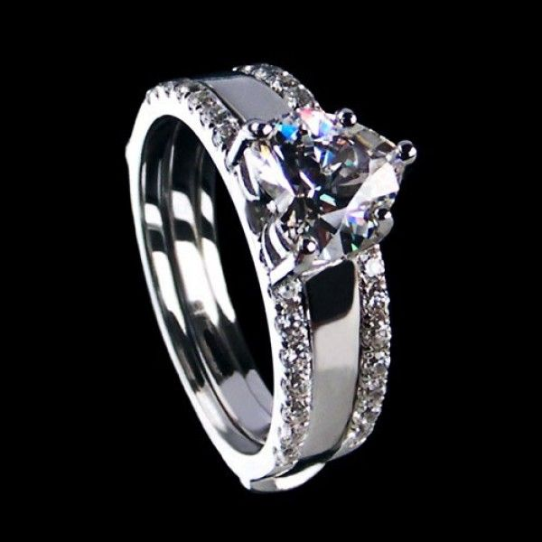 Shining Heart Cut Sterling Silver Enhancer Ring Set Elegant