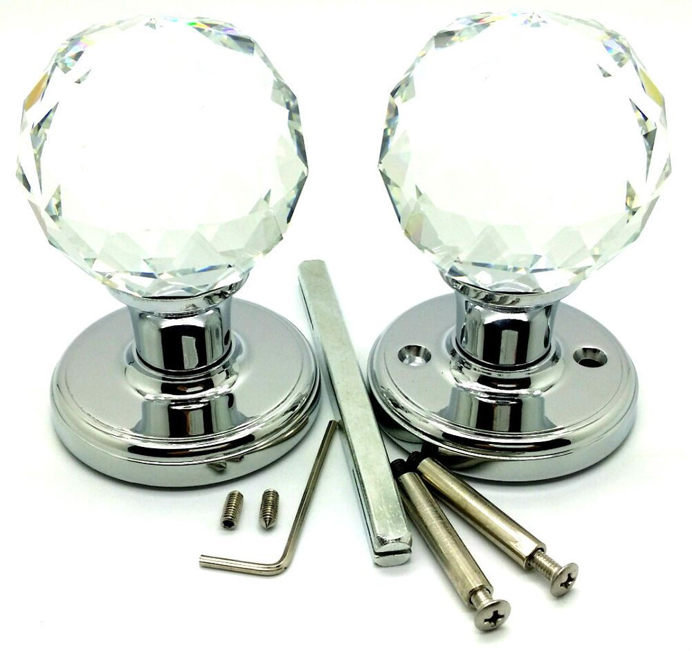 2 x 60 mm Large Crystal Diamond Glass Door Mortice Knobs Fancy Handle Home Deco