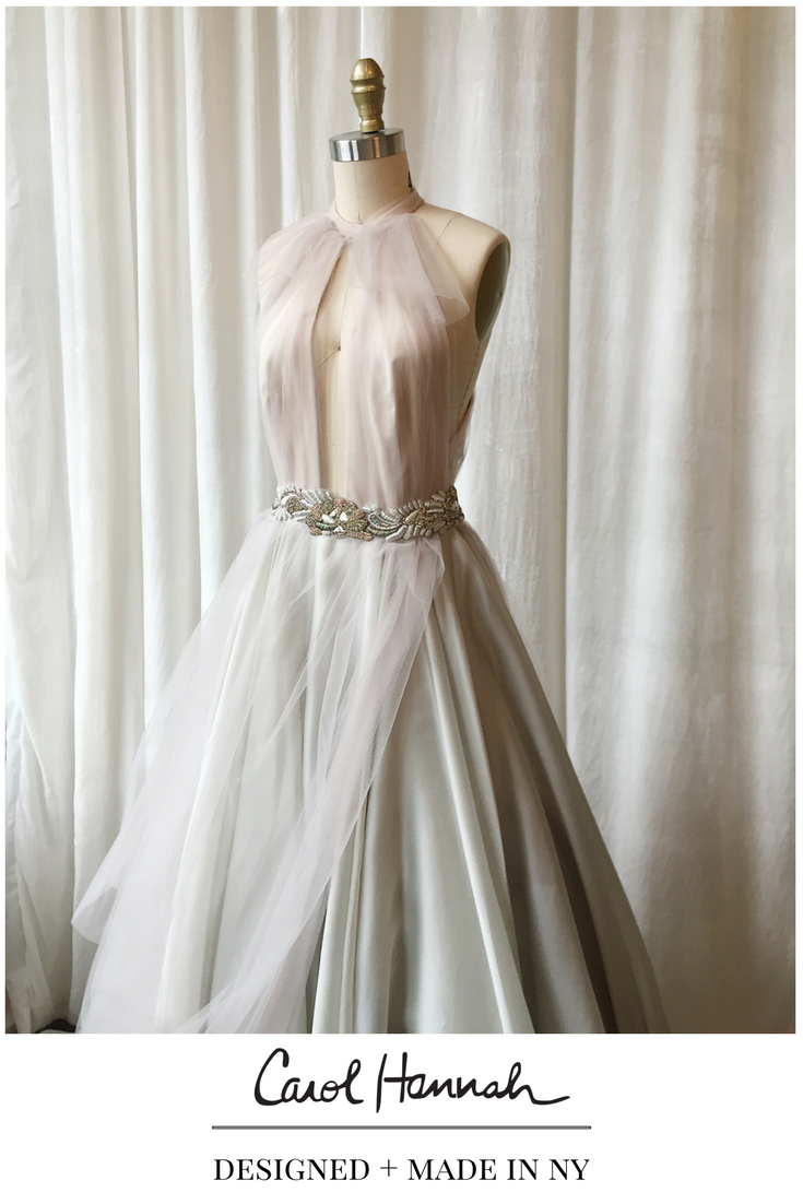 Silver and gray nontraditional wedding dress with open back and