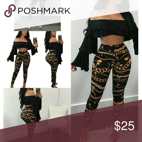 75c77ca8bc49c Versace Inspired Leggings Polyster/Cotton Material High Waist Pants Leggings