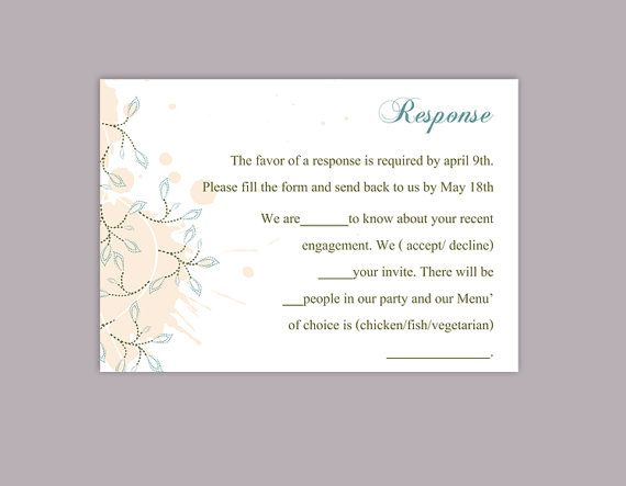 Diy Wedding Rsvp Template Editable Word File Instant Download Rsvp Template Printable Rsvp Cards Pea Card Templates Free Card Templates Printable Card Template