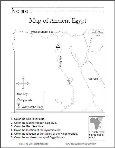 map of ancient egypt worksheet for kids grades 1 6 free to print pdf 6th grade social. Black Bedroom Furniture Sets. Home Design Ideas