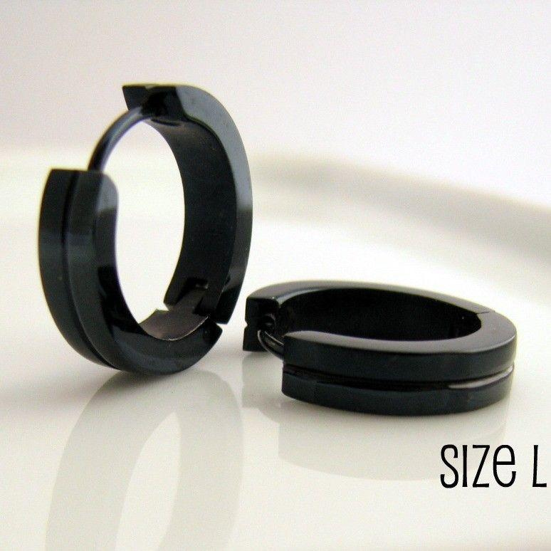 Jet Black Hoop Earrings For Men Simple Guys Cyber Corp Gothic Punk