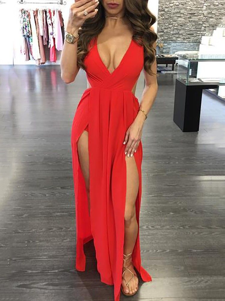 bd0276c917 Sexy V Neck High Slit Maxi Dress | dress | Dresses, Fashion dresses ...