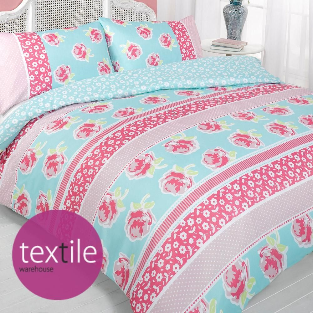 Details about eliza pink blue white floral stripe - Blue and pink floral bedding ...