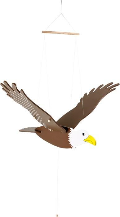 De grote koning van de lucht mag in geen kinderkamer ontbreken! De houten vleugels zijn met ogen en bandjes aan de houten lichaam vastgemaakt. Met de snoeren wordt de vogel aan het plafond bevestigd en als men aan het band trekt, vliegt de imposante vogel bijna weg.Afmetingen:ca. 73 x 39 x 9 cm - Base Toys Houten mobiel adelaar